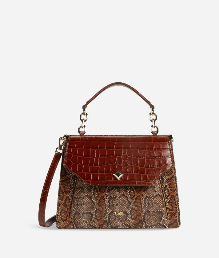 Belle Epoque Handbag in python print calf leather Brown