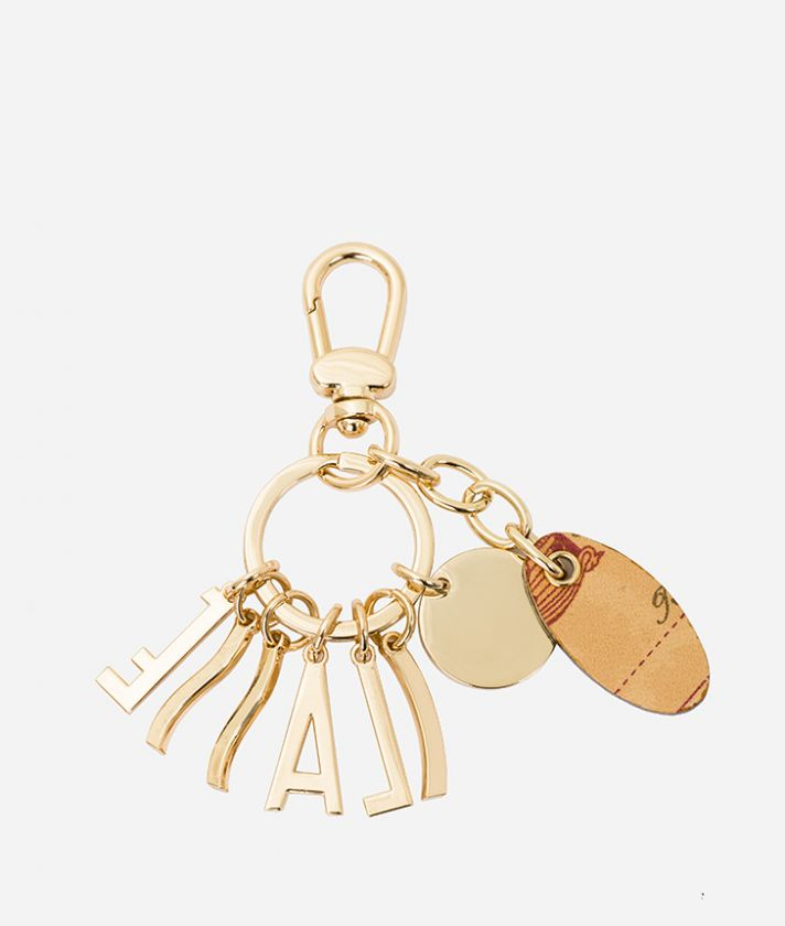 Keyring with lettering charm and Geo Classic print nappa pendant