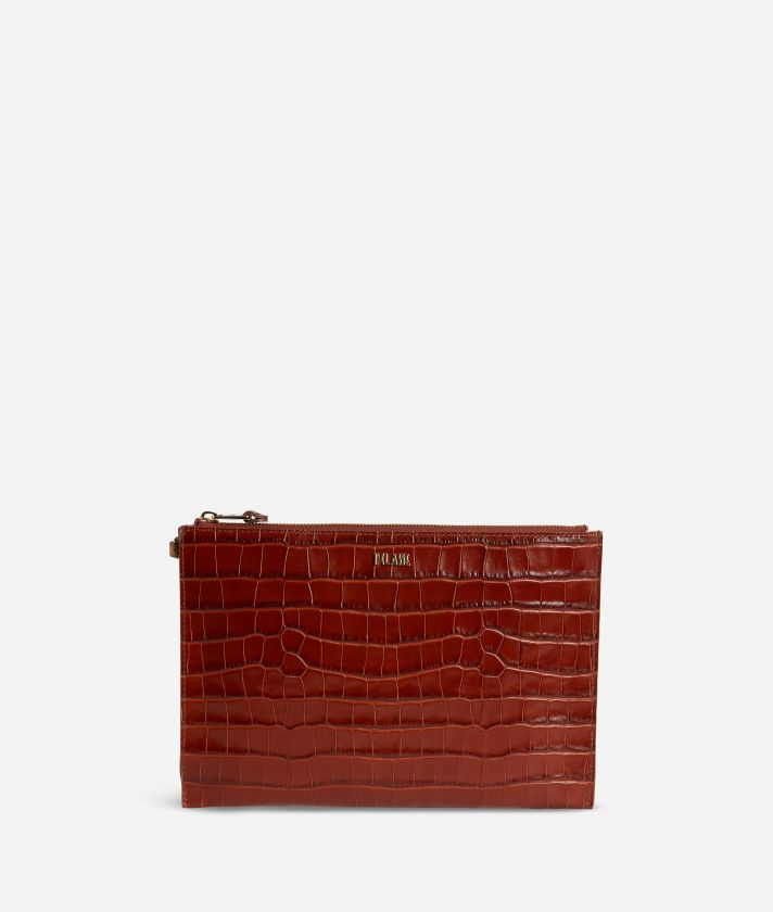 Belle Epoque Clutch with wristband in shiny mock-croc leather Black