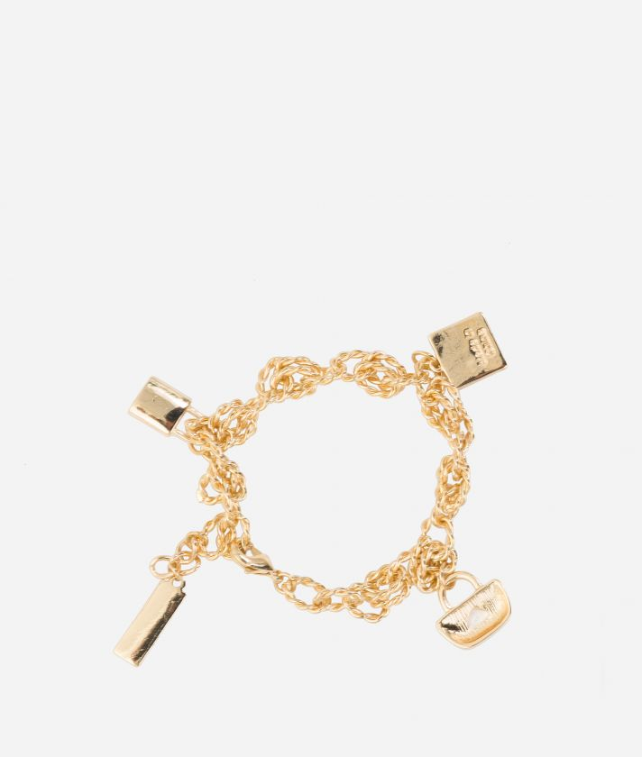 Bracciale con charms in oro chiaro protetto