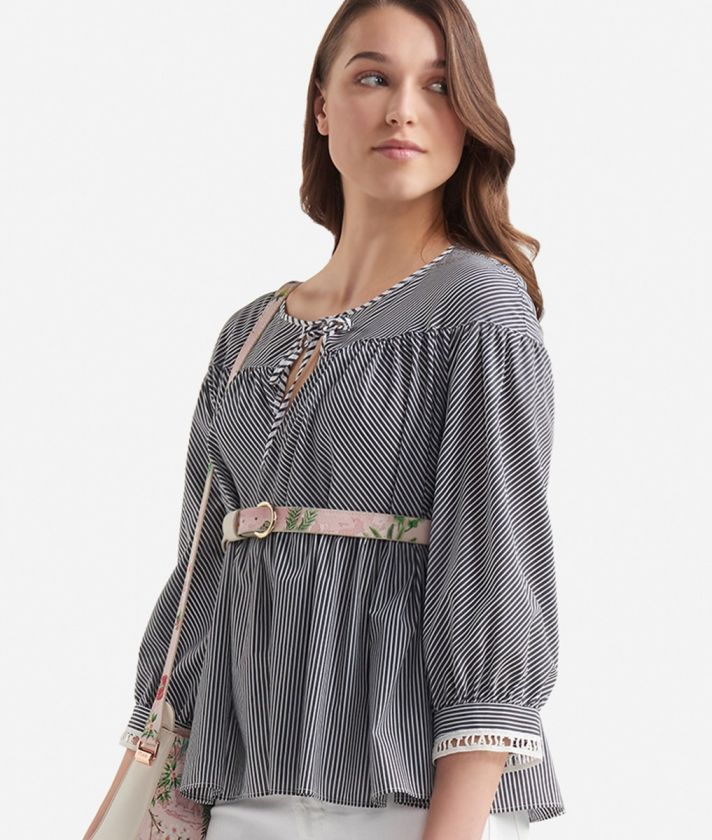 3/4 sleeves blouse with stripes print White and Black