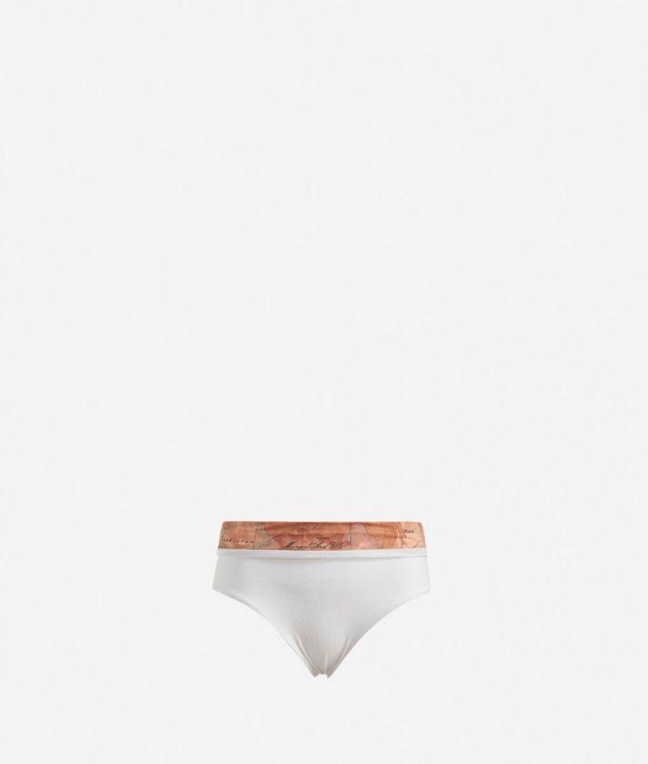 High-waist bikini bottom with Geo Classic insert White