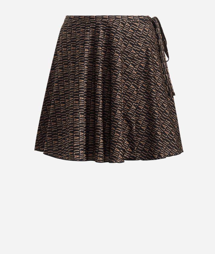 Crêpe fabric skirt with Logomania print Black