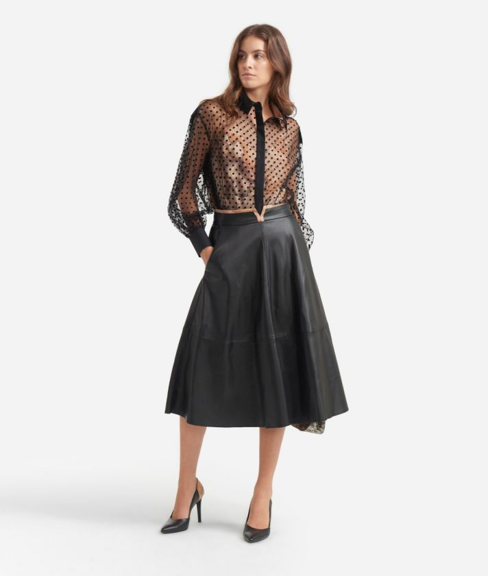 Poddle skirt in eco-leather Black