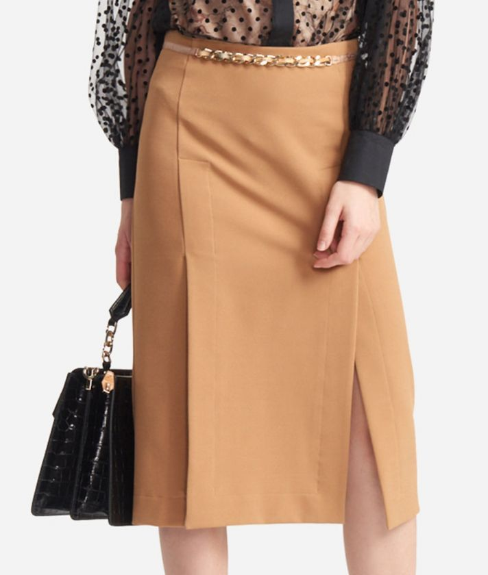 Skirt with chain detail in cavallery stretch fabric Beige