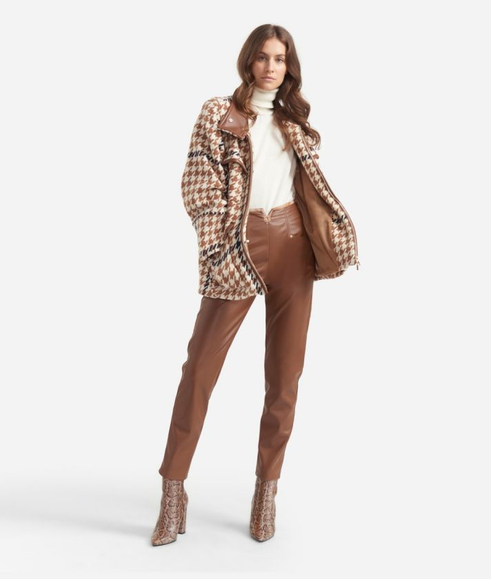 High-waist skinny pants in eco-leather Brown
