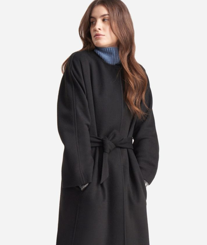 Kimono coat in velour fabric Black