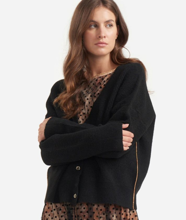 Cardigan in wool blend Black