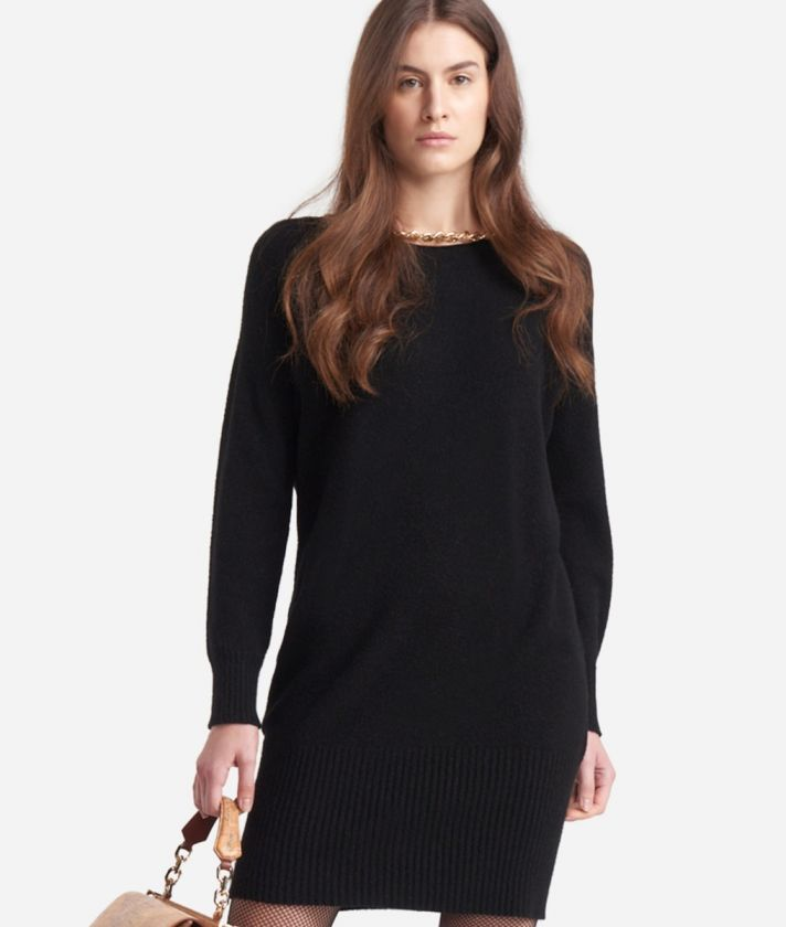 Dress in viscose stretch fabric with chain detail Black