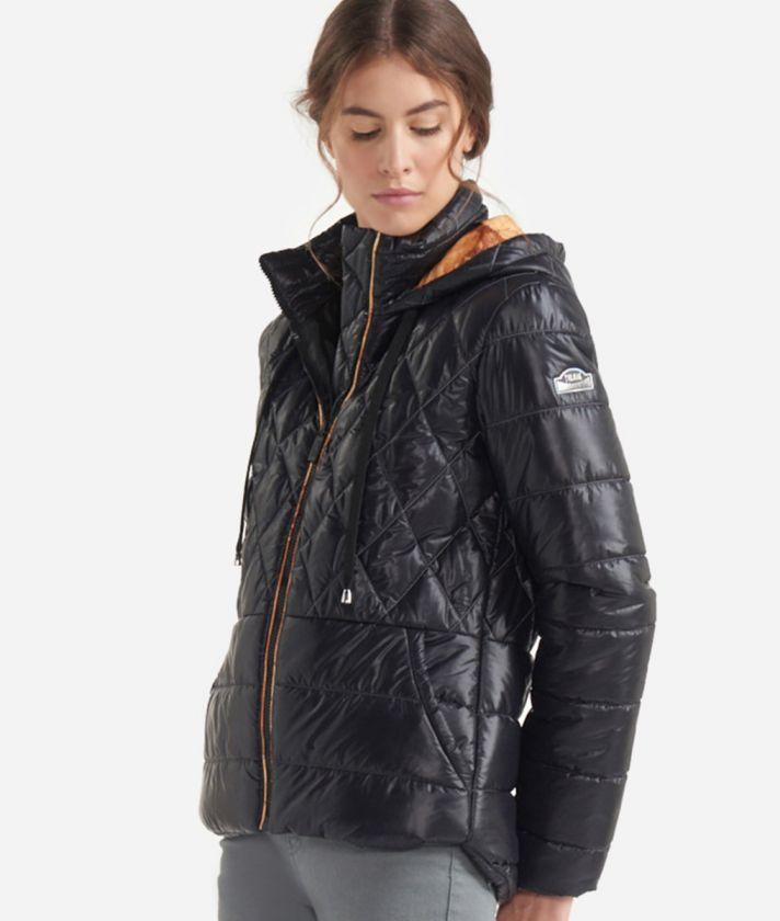 Short padded jacket with front pocket Black+