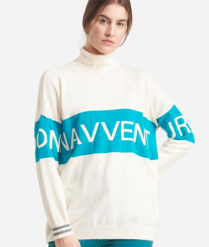 Turtleneck sweater with maxi logo jacquard White and Green