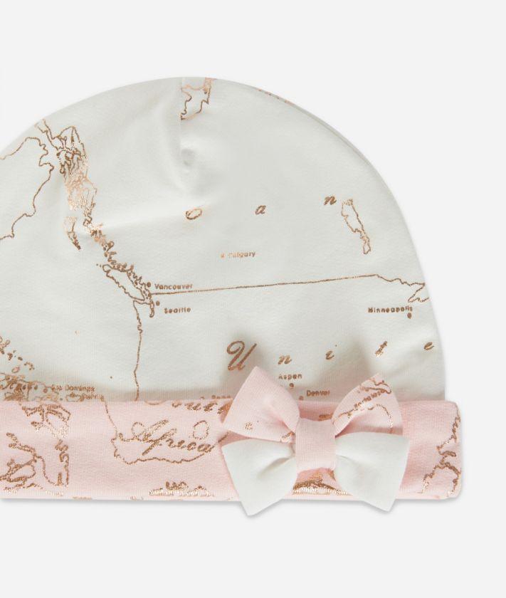 Cappellino in cotone con fiocco Rosa