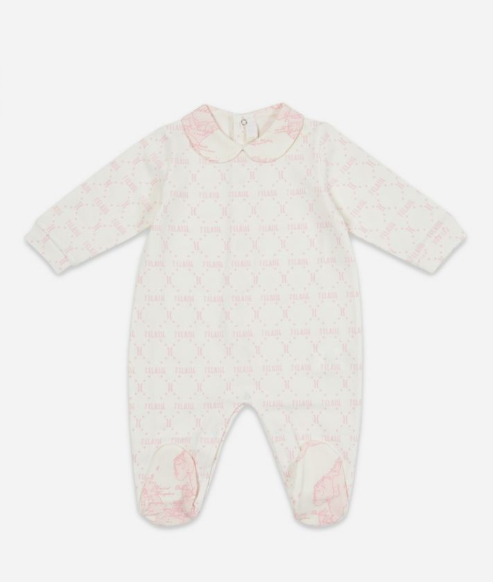 Tutina in cotone stampa Geo Pink