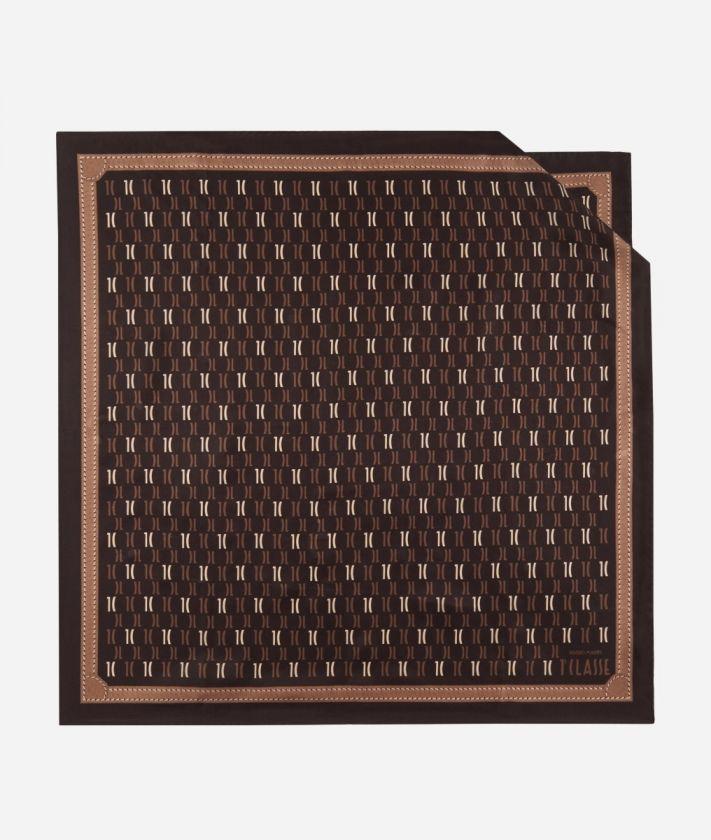 Foulard 1C Monogram 70 x 70 Marrone
