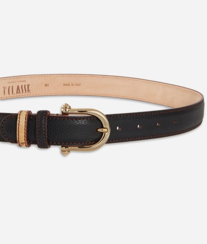 Opera Belt in grainy leather Black