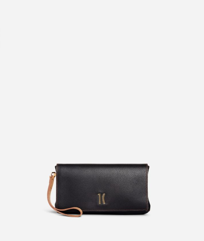 Opera Pochette with wristband in graint leather Black