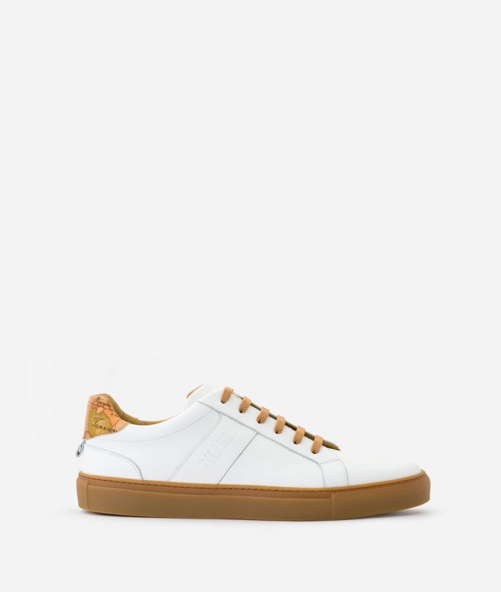Sneakers in smooth leather and Geo Classic print nappa White