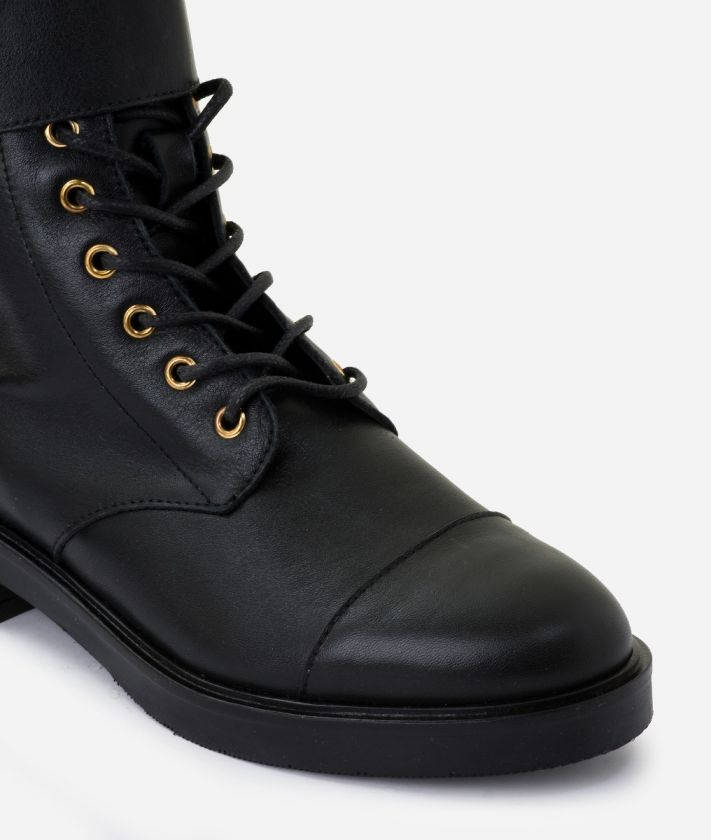 Combat boots in smooth leather Black