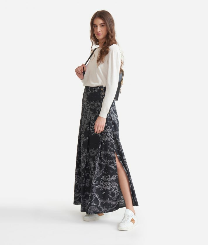 Long skirt with Geo micro pois print Black anche White