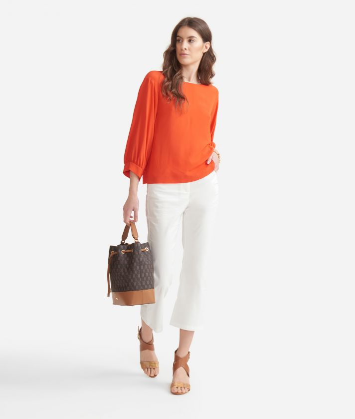 Trousers in stretch cotton gabardine White