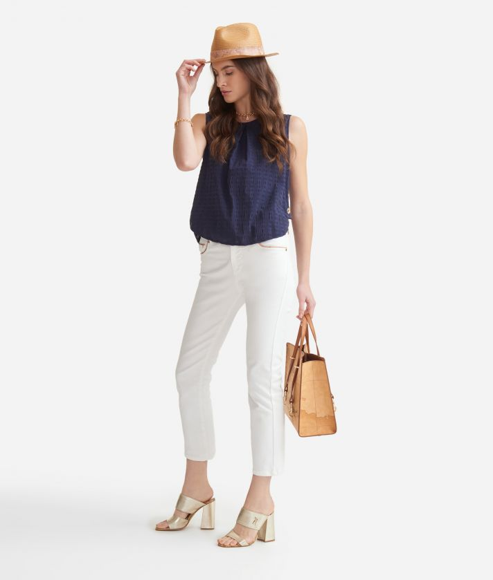 5-pockets trousers in drill stretch cotton White