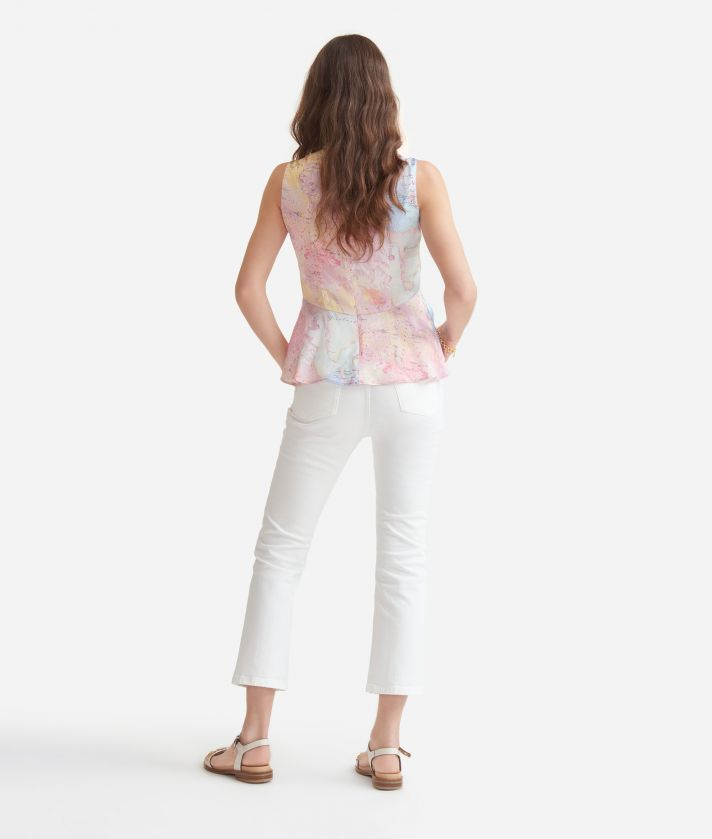 Top with flounce in satin with Geo Artistica print