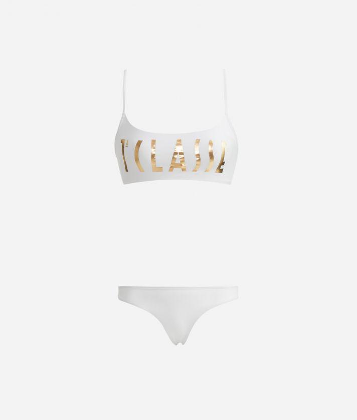 Bikini maxi logo 1a Classe Gold - Simple bandeau bra and brazilian briefs White