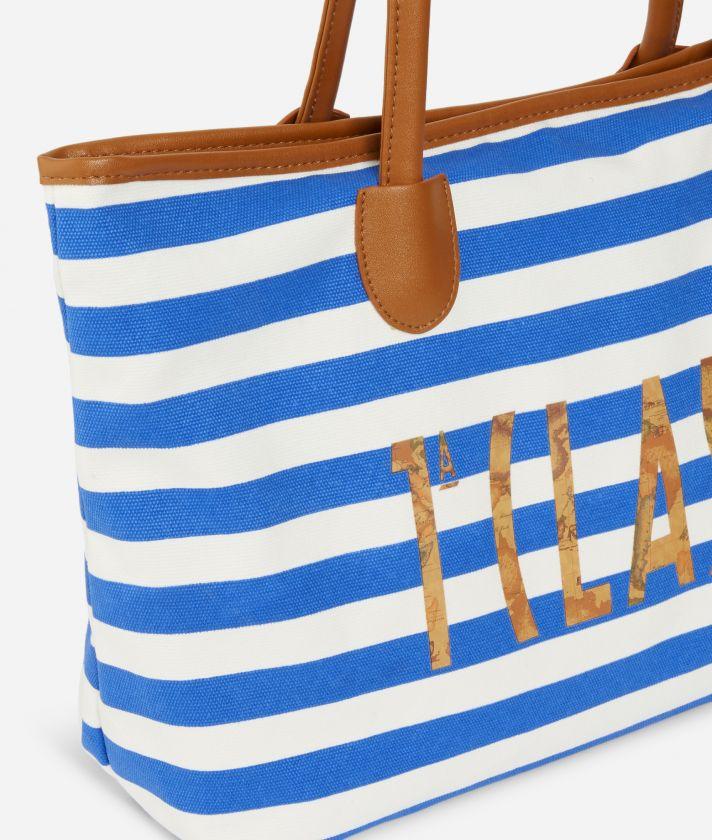 Borsa mare logo 1a Classe e pochette a righe bianche e blu cobalto