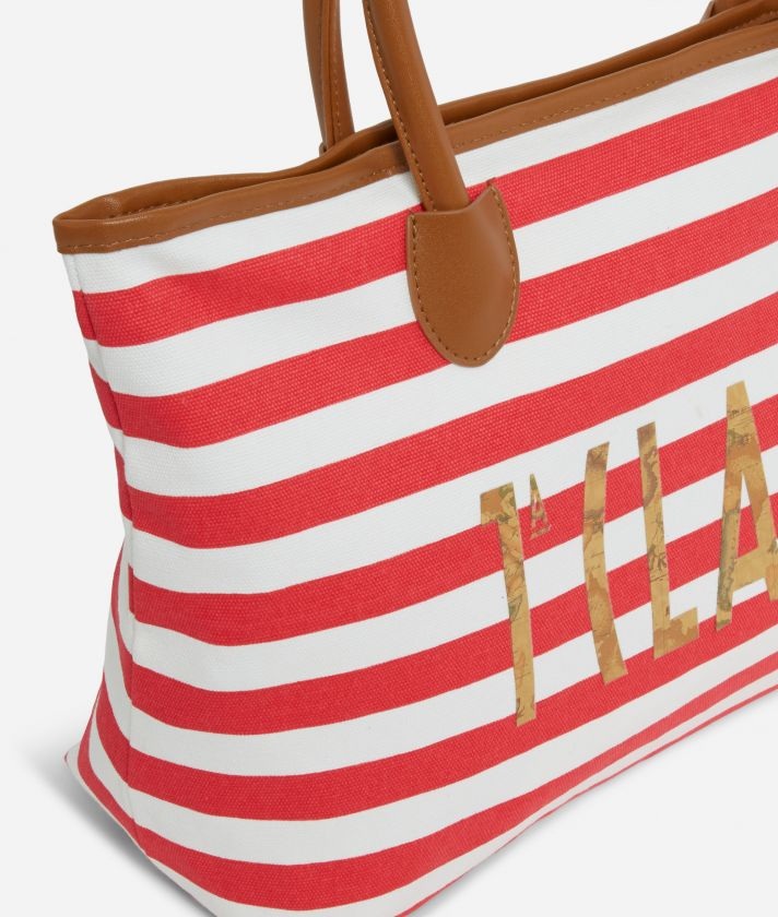 Beach Bag Logo 1a Classe with clutch white and coral red stripes
