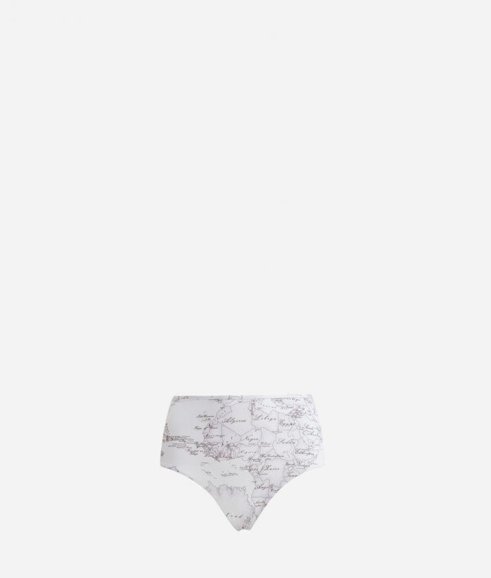 High waist bikini bottom with Geo Color print White