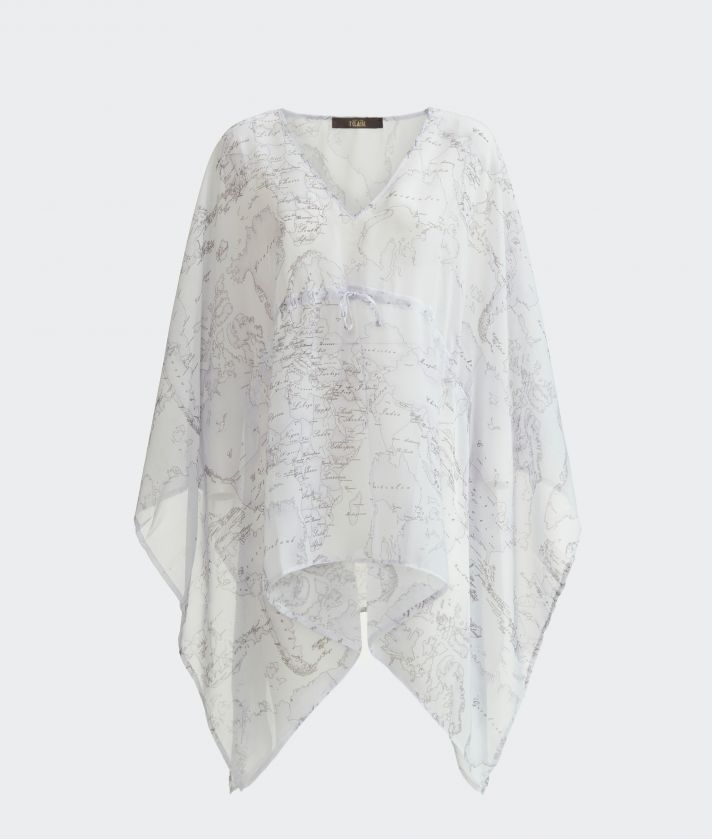 Short Kaftan in voile with drawstring and Geo Color print White