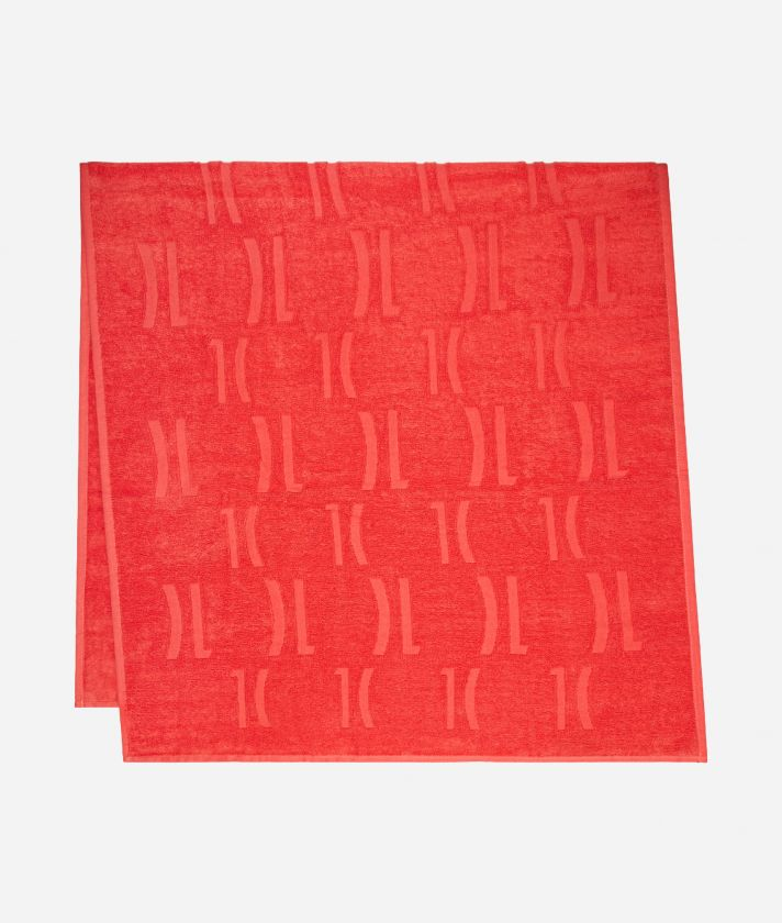 Beach towel with Maxi Logo Coral Red