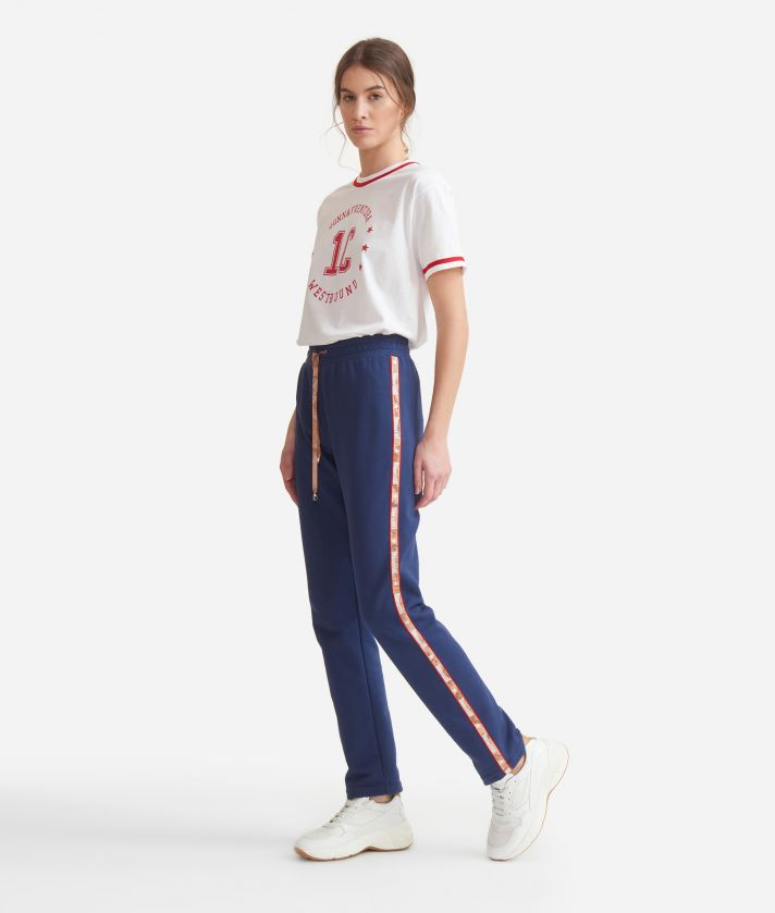 Pants with Geo Classic details in cotton fleece Blue