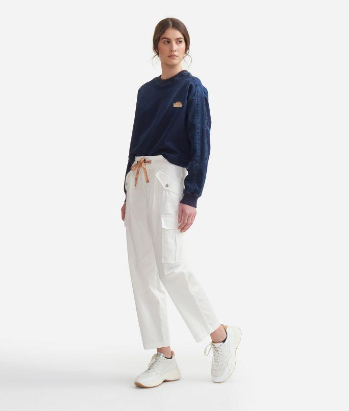 Cargo pants in stretch cotton gabardine White