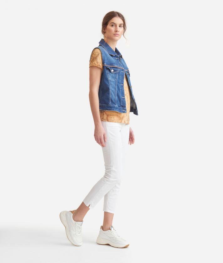 5-pockets capri pants in stretch cotton White