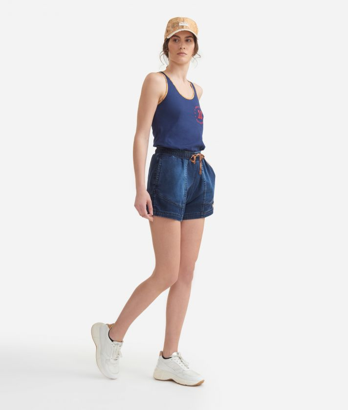 Tank top in jersey cotton Blue