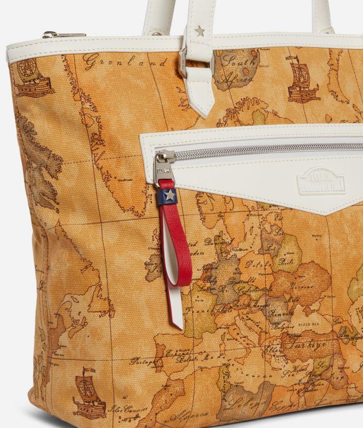 Shopping Bag in Geo Classic print fabric White