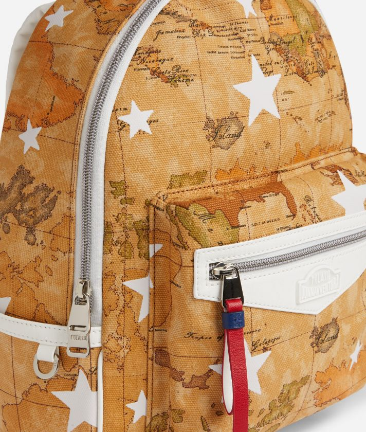 Backpack in Geo Classic print fabric and stars overprint White