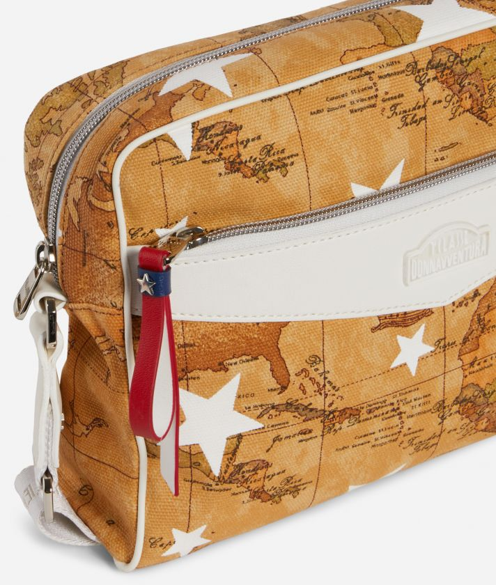 Crossbody Bag in Geo Classic print fabric and stars overprint White