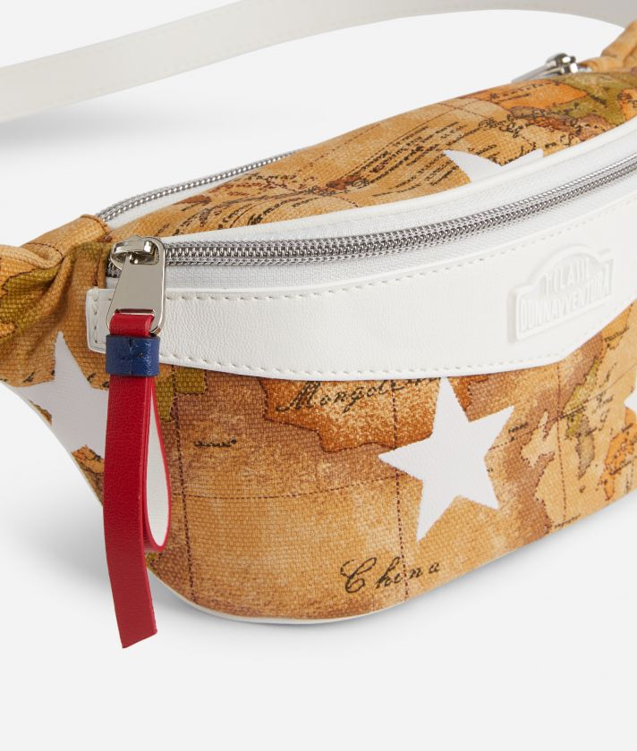 Belt Bag in Geo Classic print fabric and stars overprint White