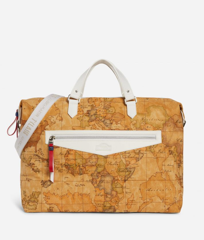 Duffle Bag in Geo Classic print fabric White