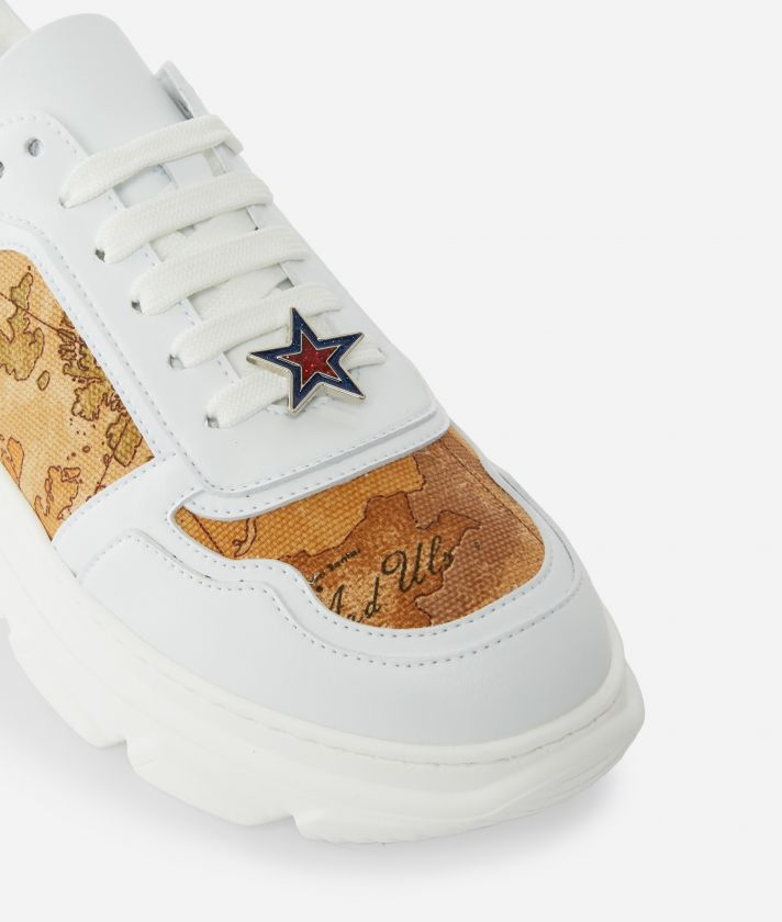 Running Sneakers in eco-leather and Geo Classic fabric White