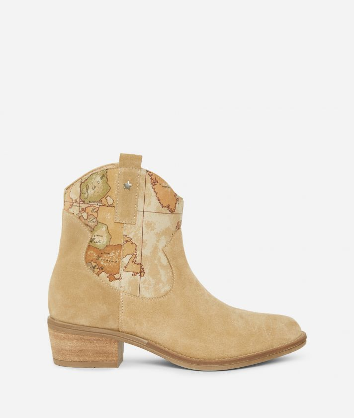 Texan ankle boots in suede leather Beige