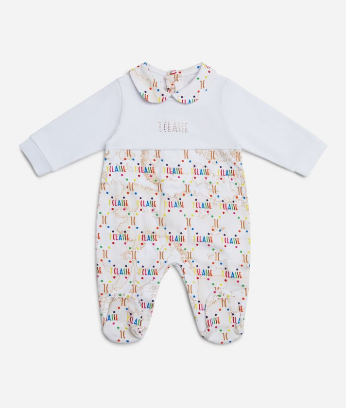 Baby playsuit in Geo Beige and multicolor logo