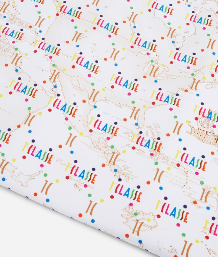 Baby blanket in Geo Beige and multicolor logo