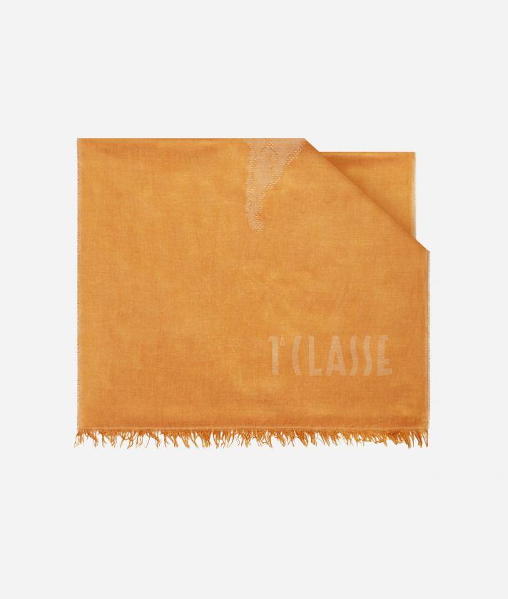 Scarf with Geo Pieno print 50 x 180 Orange