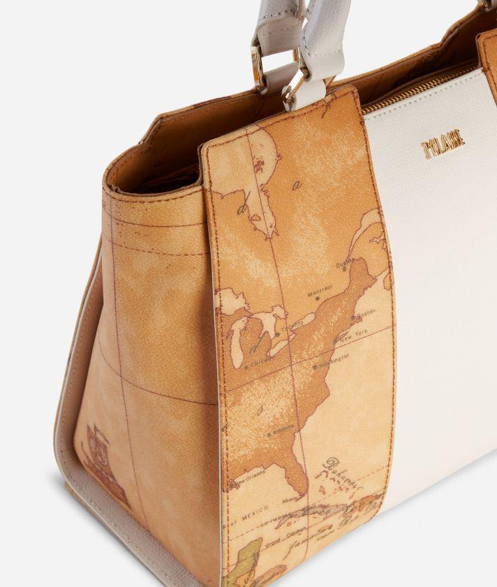 Lotus Flower Handbag in Geo Classic print fabric White