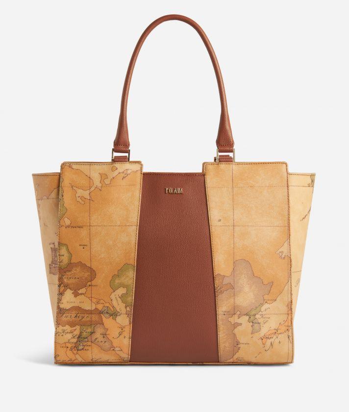 Lotus Flower Shopping Bag in Geo Classic print fabric Brown