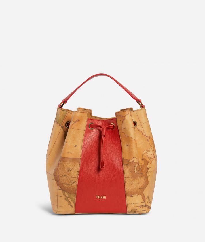 Lotus Flower Bucket Bag  in Geo Classic print fabric Red