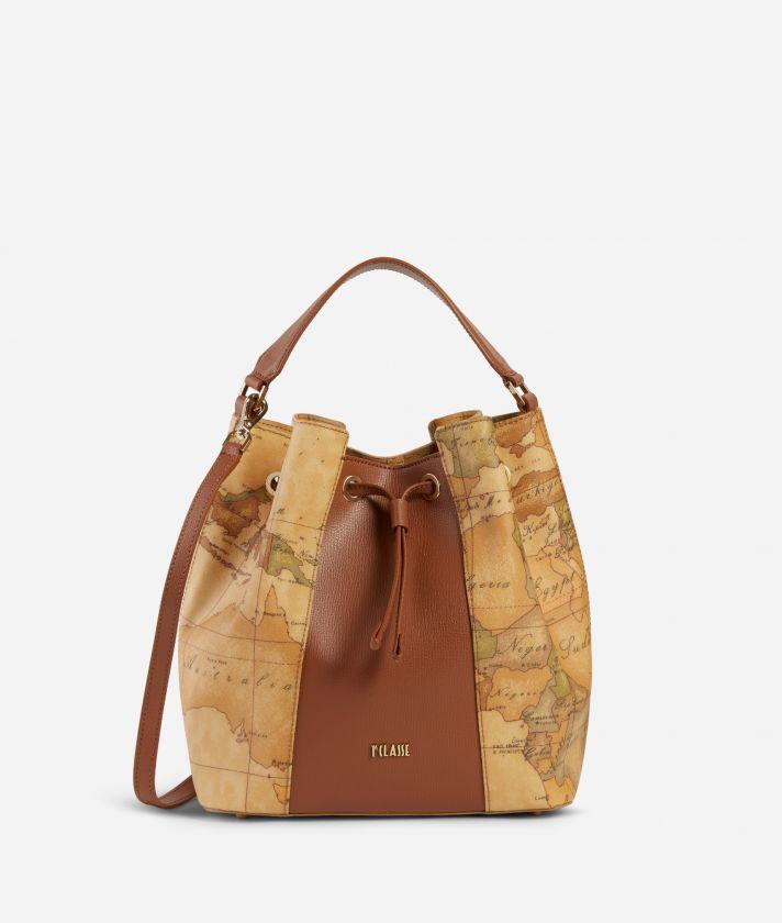 Lotus Flower Bucket Bag  in Geo Classic print fabric Brown